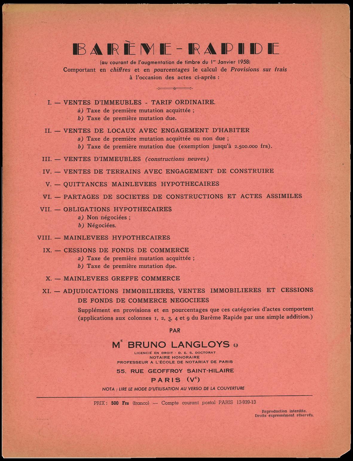 Barème rapide 1958